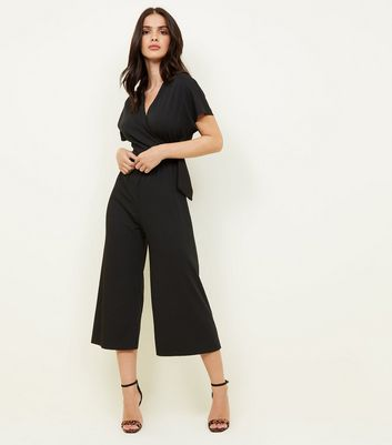 Black Ribbed Wrap Around Buckle Jumpsuit