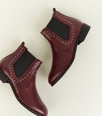 Girls Dark Red Studded Chelsea Boots