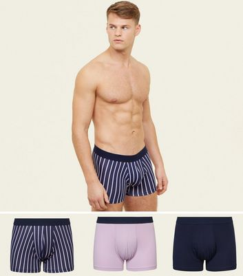 3 Pack Lilac and Navy Trunks