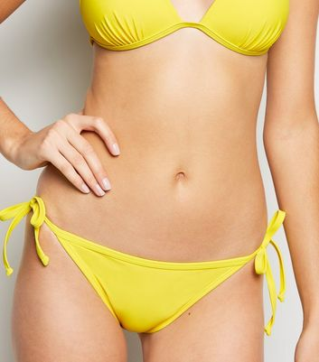 Pale Yellow Tie Side Bikini Bottoms