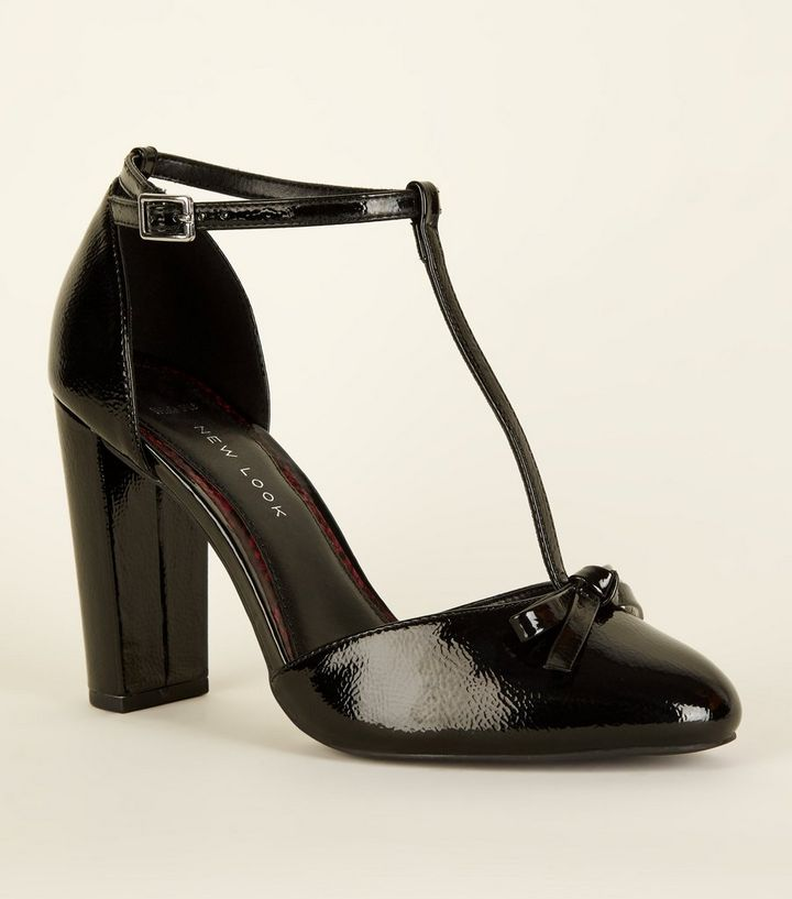 factory outlet hot sale premium selection Wide Fit Black T-Bar Bow Front Block Heels | New Look