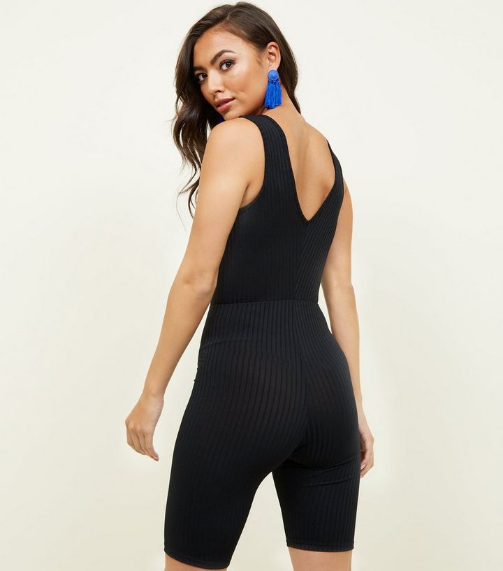 6764fedc6942 ... Black Ribbed Cycling Unitard Playsuit. ×. ×. ×. Shop the look