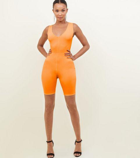 46fa2056878 ... Orange Neon Ribbed Cycling Unitard Playsuit ...