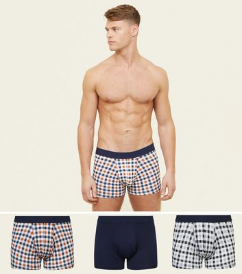 3 Pack Orange Check, Navy and Black Check Trunks