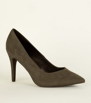 Wide Fit Khaki Suedette Pointed Courts