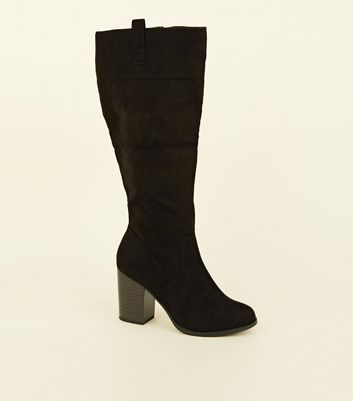 Wide Fit Black Suedette Knee High Western Boots