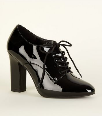Wide Fit Black Patent Lace Up Shoe Boot