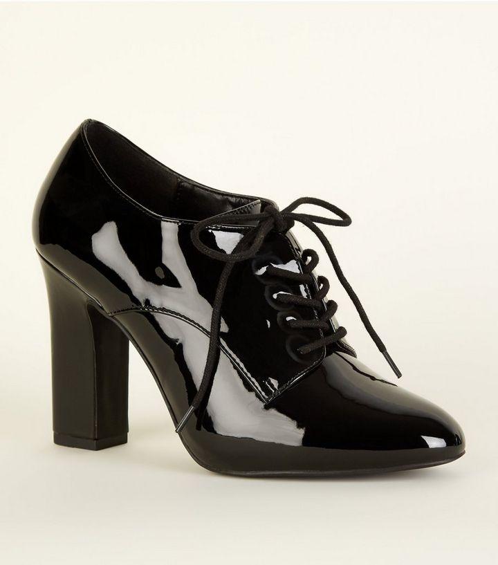 fed253c53d2d5 Wide Fit Black Patent Lace Up Shoe Boot | New Look