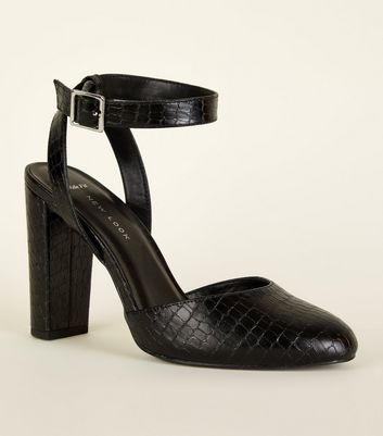 Wide Fit Black Faux Croc Block Heels