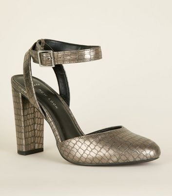 Wide Fit Silver Faux Croc Block Heels