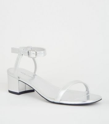 Silver Metallic Low Block Heels