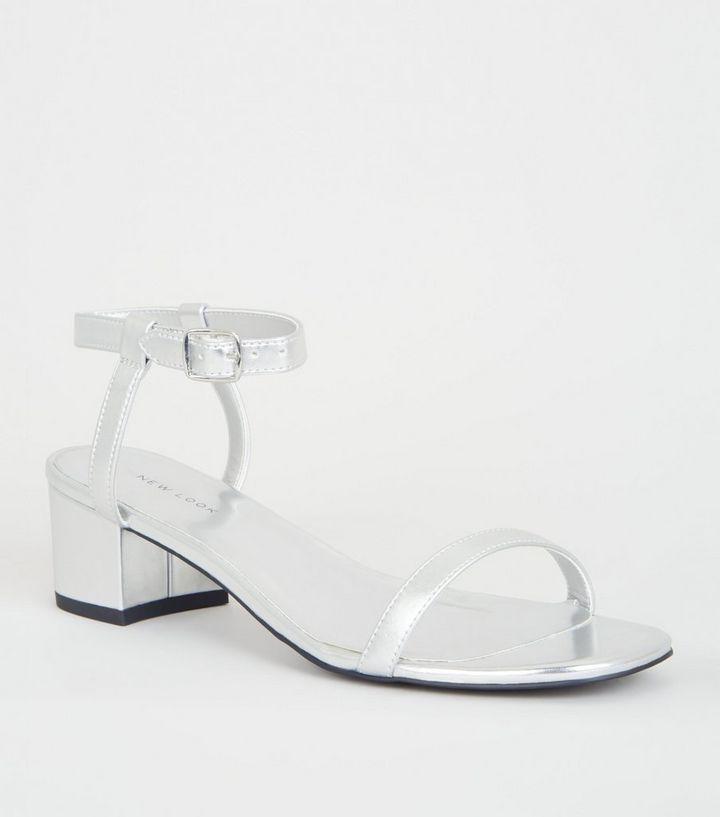 27bb29a0ff6 Silver Metallic Low Block Heels