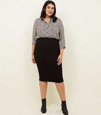 Curves Black Textured Jersey Pencil Skirt