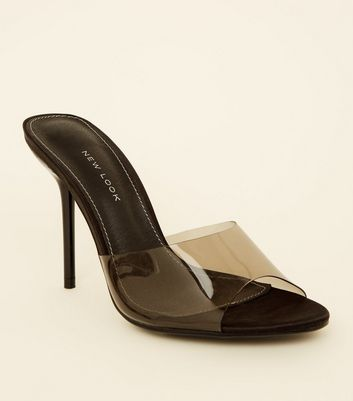 Black Clear Strap Stiletto Mules