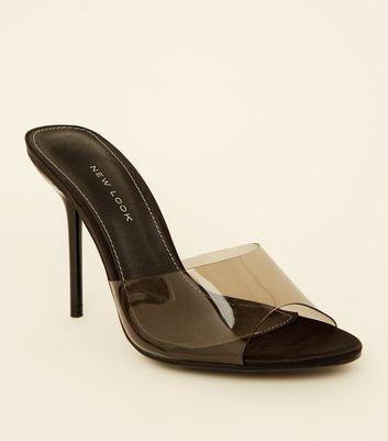 Black Clear Strap Stiletto Mules | New Look