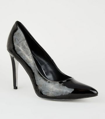 Black Patent Holographic Sole Court Shoes