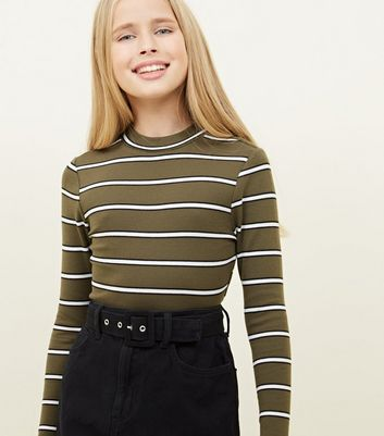 Girls Khaki Stripe Funnel Neck Top