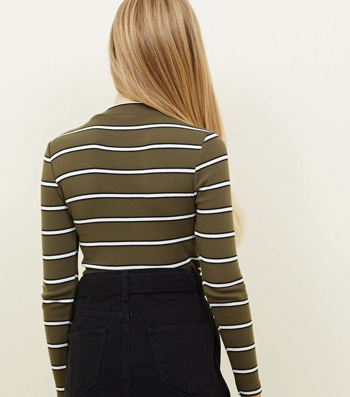 8545413f ... Girls Khaki Stripe Funnel Neck Top. ×. ×. ×. Shop the look