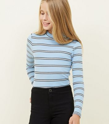 Girls Blue Stripe Funnel Neck Top