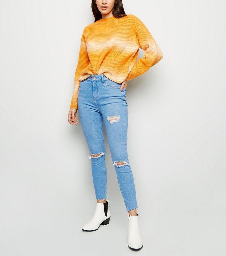 c14754c9855e6 Blue Thigh Rip High Waist Super Skinny Hallie Jeans | New Look