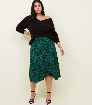 Curves Green Leopard Print Midi Skirt