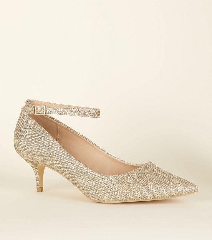 5d2de97ec8a Wide Fit Gold Glitter Pointed Kitten Heels