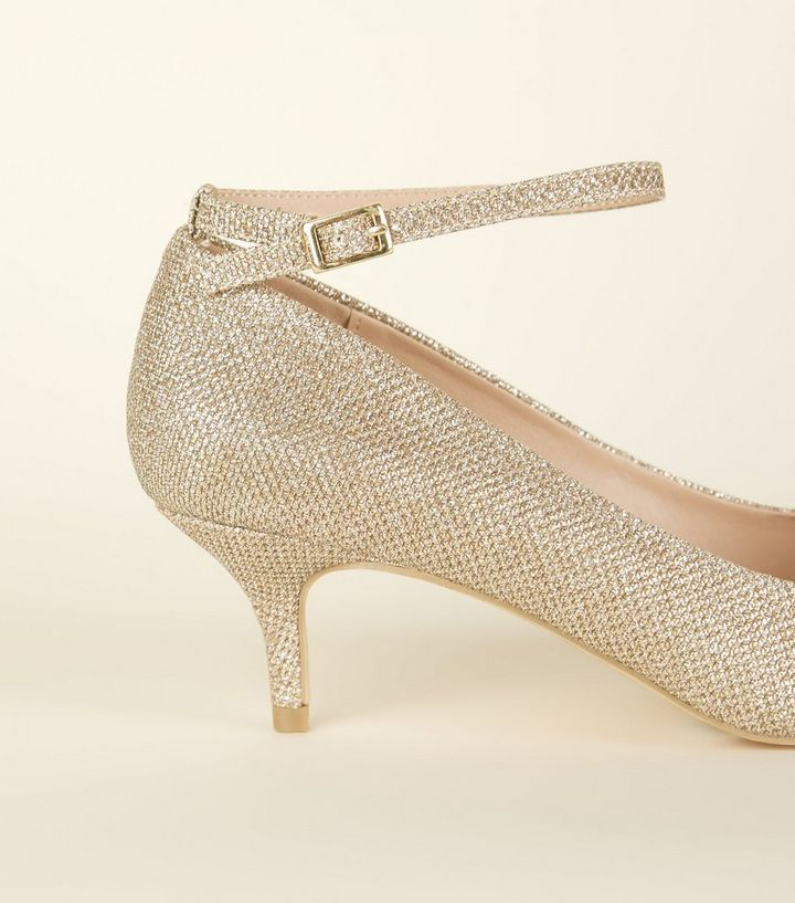 a77e1b74be8 Wide Fit Gold Glitter Pointed Kitten Heels Add to Saved Items Remove from  Saved Items