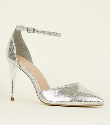 Silver Diamanté Strap Pointed Stiletto Heels