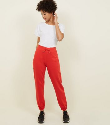 Red Elastic Cuffed Hem Joggers by New Look