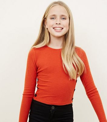 Girls Orange Brushed Rib Button Side T-Shirt