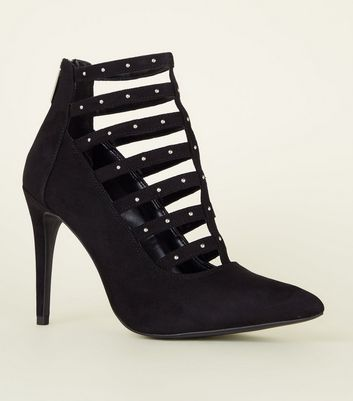 Black Caged Stud Strap Stiletto Heels