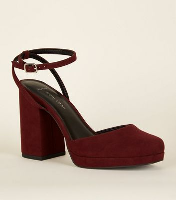 Wide Fit Dark Red Suedette Square Toe Heels