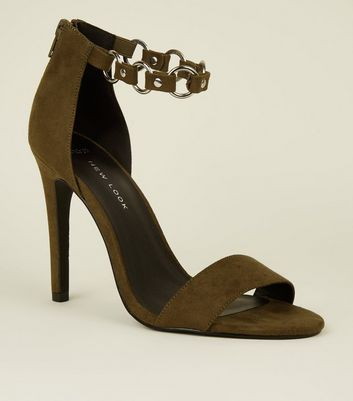 Wide Fit Khaki Suedette Ring Strap Heels
