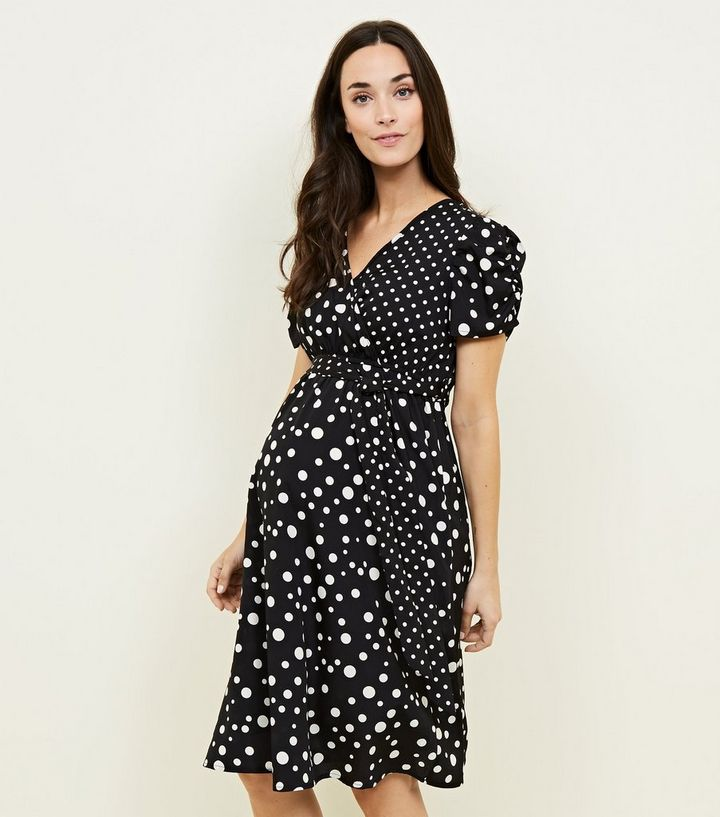 a529aa767c0 Maternity Black Spot Print Wrap Dress