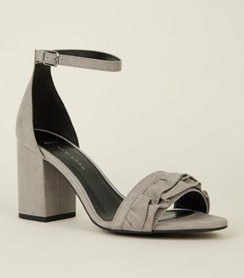 Wide Fit Grey Suedette Frill Front Block Heel Sandals