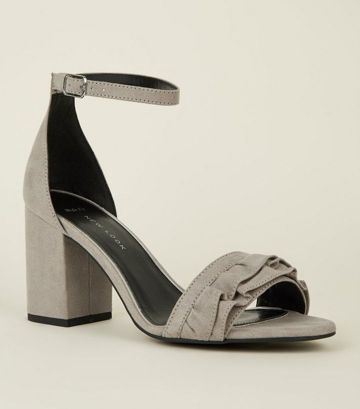 21453bf169ad Wide Fit Grey Suedette Frill Front Block Heel Sandals