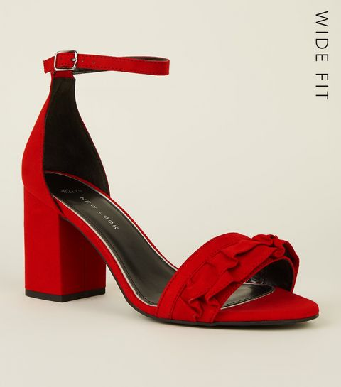 ... Wide Fit Red Suedette Frill Front Block Heel Sandals ... 573f7b98b8