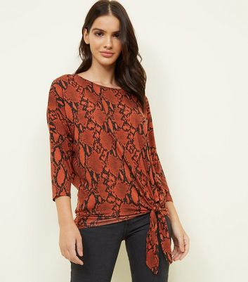 Orange Snake Print Tie Front Top