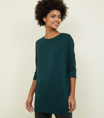 Dark Green Glitter Stripe Oversized Top
