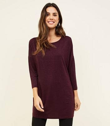 Burgundy Glitter Stripe Oversized Top