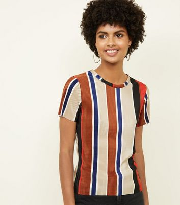 Multicoloured Stripe Plissé T-Shirt