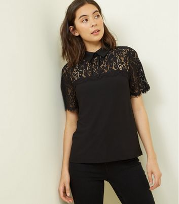 Black Lace Yoke Collar T-Shirt