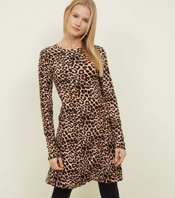 Tall Brown Leopard Print Skater Dress