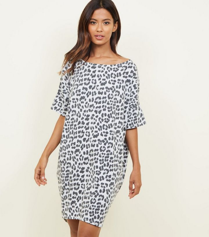 a7eb93528c52 Apricot Grey Leopard Print T-Shirt Dress | New Look