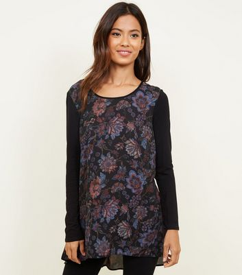 Apricot Black Floral Chiffon and Jersey Dip Hem Top