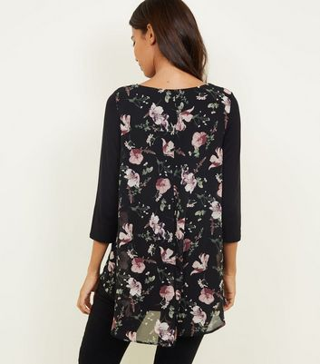 Apricot Black Floral Layered Split Back Top New Look