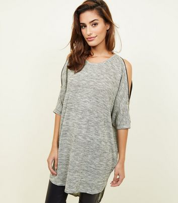 Apricot Grey Glitter Knit Zip Shoulder Tunic Top