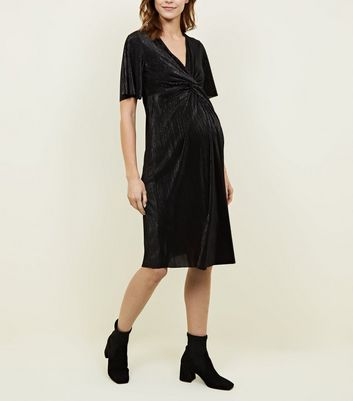 Maternity Black Twist Front Plissé Dress