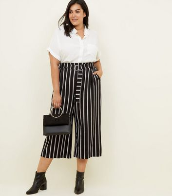 Curves Black Stripe Twill Cropped Wide Leg Trousers