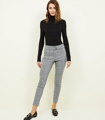 Black Check D-Ring Skinny Trousers